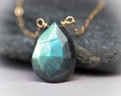Just Gorgeous Labradorite Faceted Briolette Wire Wrapped Gold Filled Necklace