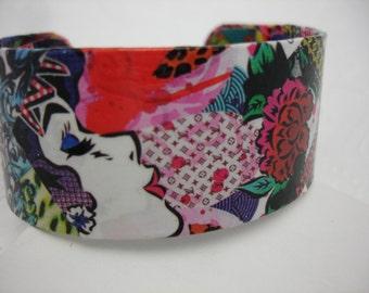 Decoupage Cuff Bracelet Funky Collage Cuff