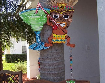 Tropical TIki Margarita Party Handcrafted Wood Sign