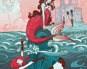 Little Mermaid Literary 12x18 inch poster