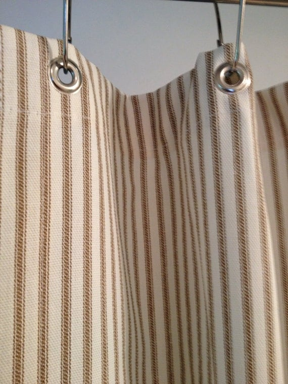 Nautical ticking stripe grommeted shower curtain 72x72 grey brown
