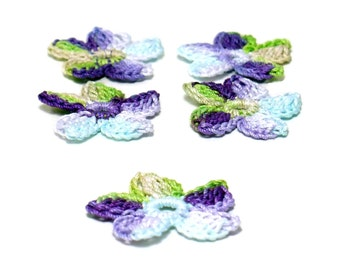 Crochet Applique Mini Flower Motif Flower Embellishment Crochet Flower Applique Crochet Motif Blue Purple Green Beige Crochet Flower Motif