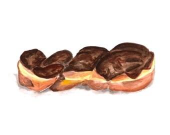 Chocolate Glazed Twist Doughnut Illustrated Watercolor Print