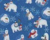 Blue Winter Magic Polar Bears Print 100% Cotton Flannel Fabric