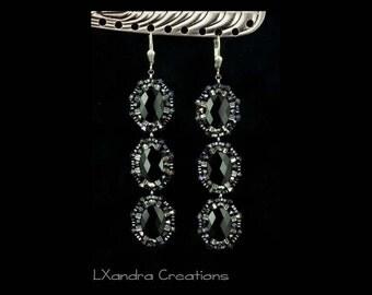 Handwoven beaded black Swarovski crystal drop 3 tier beadwork embroidered dangle earrings