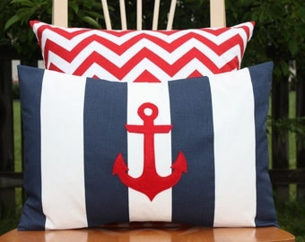 Modern Anchor Lumbar Pillow Cover - Navy and White Stripe - Red Anchor