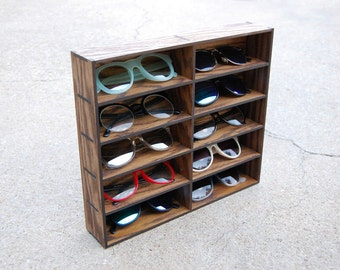 10ct Wallmount Sunglasses Organizer Display Rack Stand Case Box Drawer Eyewear Holder Sunglass Shelf HANDMADE in Tx