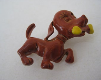 Dog Brown Puppy Enamel Brooch Vintage Pin Bone