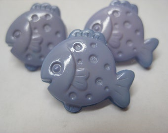 Fish Buttons Blue Vintage Plastic Three