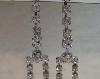 Rhinestone Dangle Earrings Pierced Post Clear Vintage Silver
