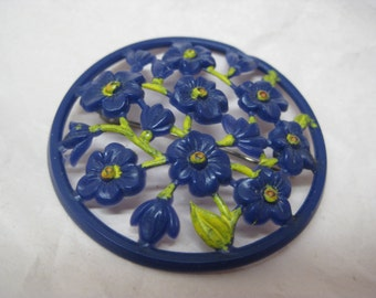 Flower Navy Blue Brooch Green Plastic Vintage Pin