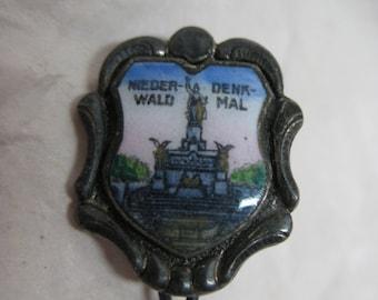 Niederwald Denkmal Pin Enamel Silver Vintage Brooch