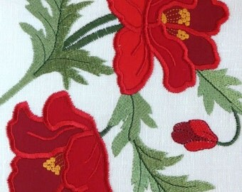 Poppy Applique Machine Embroidery Designs, ha001d
