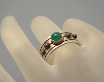 Vintage Sterling Ring Band Green Jewelry R5533