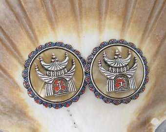 Large Vintage Earrings Asian Pagoda Jewelry E5719