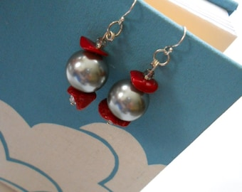 Moon Gazer earrings - bamboo coral chips, Swarovski crystals, Swarovski pearls