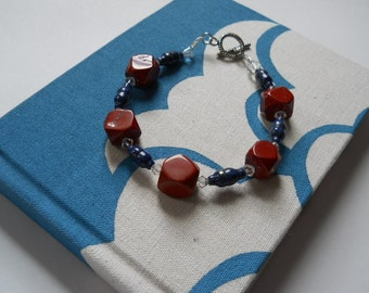 Old Glory bracelet - lapis lazuli, Swarovski crystals, jasper, red, white, blue, clear