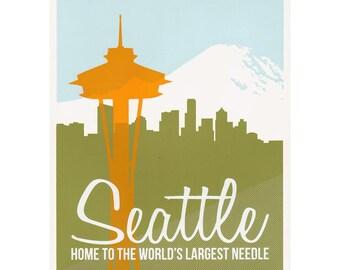 Seattle Space Needle Poster-- Handpulled Screenprint