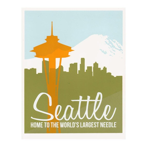 Seattle Space Needle Poster-- Handpulled Screenprint