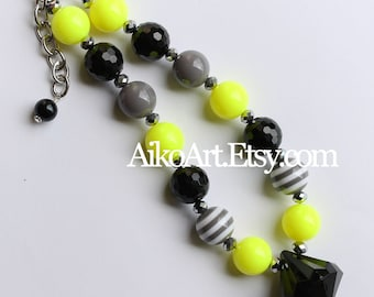 Soccer Sport team Neon Yellow Gray Black Chunky Necklace
