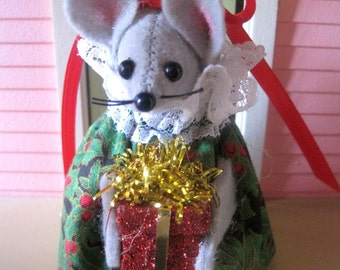 Christmas Lady Mouse Holding a Present NEW LOWER PRICE