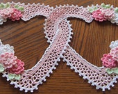 New Crocheted Double Heart Doily  Pink  Victorian, Cottage Style, Wedding