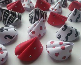 Paper Fortune Cookie Favors - Mustache, Lips, Red Bling, Black & White Stripe