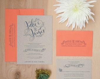 Hand Lettered Invitation, Boho Invitation, Kraft Invitation, Navy and Coral Invitation, Rustic Invitation SAMPLE