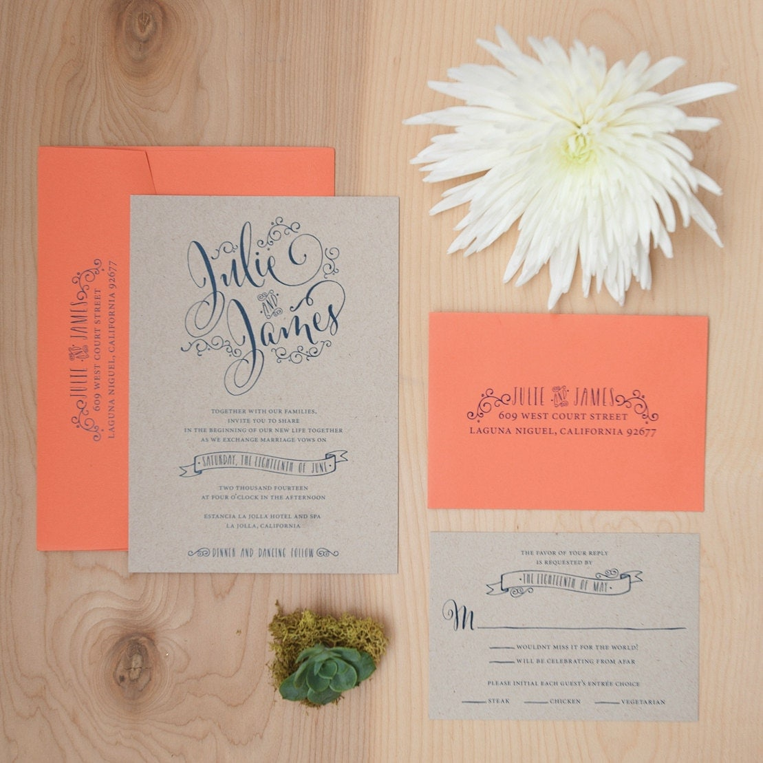 , Boho Invitation, Hand Lettered Invitation, Outdoor Wedding, Rustic