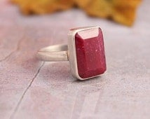 Ruby ring - Gemstone ring - Bezel ring - Precious ring - Sterling silver ring - Red ring - Gift for her