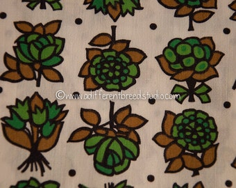 Great Blooms- Vintage Fabric Mod Flowers Juvenile Floral Novelty Greens Tulips Daisies 39 in wide (Reserved)