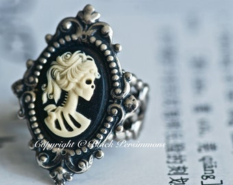 Miss Skeleton Ring - VIctorian Goth Lady - SOLDERED - Made in USA Components - Free Domestic Shipping - 6 Cameo Colors - 2 Directions
