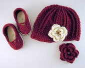 Cutie Patootie!  Cream and Cranberry Beanie and Booties Set size 6 month