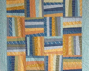 Patchwork Quilt - blue, green and gold Japanese Askew