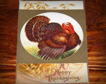 Antique Embossed Postcard Thanksgiving Turkey Ellen H Clapsaddle Germany