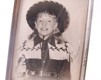 vintage photo frame with pictureblack and white picture cowgirl photo with frame