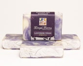 Lavender Fields Swirled/ Marbled Soap.  Natural/ Handmade/ Artisan. Generous 4.5 oz  Vegan Bar. Made with Rainwater & Pure Essential Oils.