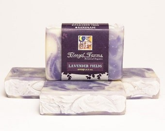 Lavender Fields Swirled/ Marbled Soap.  Natural/ Handmade/ Artisan/ Palm Free. Generous 4.5 oz  Vegan Bar. Rainwater & Pure Essential Oils.