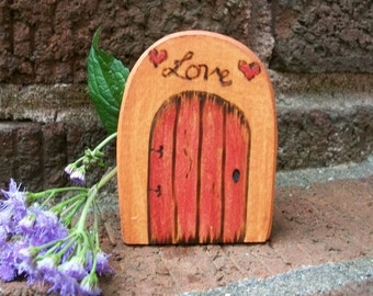 Wooden Rounded Fairy Door Fridge Magnet, Gnome Door Magical Portal 2 1/2 inch,  LOVE Red with Hearts