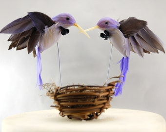 Purple Hummingbird Wedding Cake Topper: Groom & Groom Gay Love Bird Cake Topper -- Two Grooms