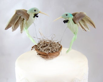 Green Hummingbird Wedding Cake Topper: Groom & Groom Gay Love Bird Cake Topper -- Two Grooms