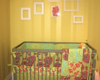 Crib Skirt, Crib Sheet and Quilt, Custom Baby Crib Set
