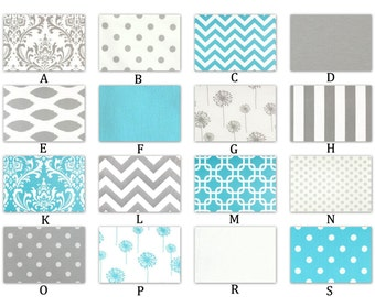 Aqua, Storm Gray and White - Custom Crib Baby Nursery Decor - The Ocean Collection