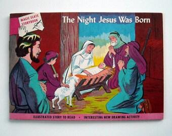 Vintage 1960 Children's Activity Bible Magic Slate Book Jesus' Birth Nativity  for Sunday School