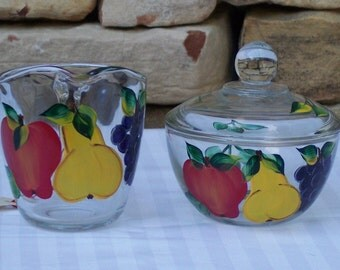 Hand Painted Glass Sugar and Creamer with Apples, Pears and Grapes