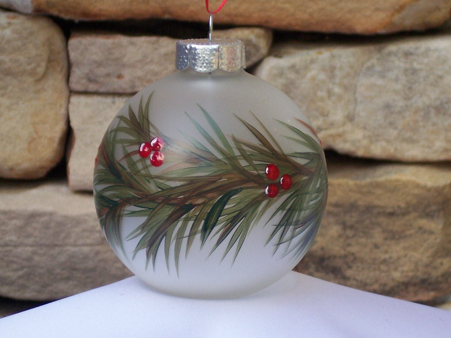 Hand painted glass christmas ornament with green garland and for Glass christmas ornaments to paint