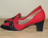 SALE 1960s Red/Navy SPECTATOR Pumps Handmade Created by Juliano 8 to 8.5