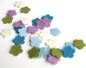 Flower Die Cuts - Cool Watercolors - 100% Wool Felt - Tiny Blossoms Set of 30 - Applique - Confetti - Party Supply -  DIY Kit