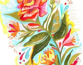 Fresh Cut art print | Rose Wall Art |Vertical Print | Vibrant Floral Watercolor Painting | Katie Daisy