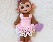 BALLERINA MONKEY ORNAMENT,  monkey ornament,  dance ornament, personalized monkey Christmas ornament, polymer clay ornament, monkey, dance